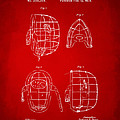 1878 Baseball Catchers Mask Patent - Red by Nikki Marie Smith