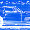 1967 Corvette Sting Ray Coupe Reversed Blueprint by K Scott Teeters