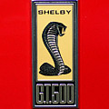 1967 Ford Shelby Gt 500 Cobra Fender Emblem On Red by Paul Ward