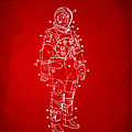 1973 Astronaut Space Suit Patent Artwork - Red by Nikki Marie Smith
