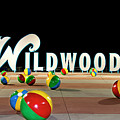 Wildwood's Sign At Night On The Boardwalk  by Retro Views