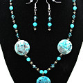3508 Crazy Lace Agate Necklace And Earrings by Teresa Mucha