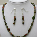 3525 Unakite Necklace And Earring Set by Teresa Mucha