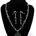 3576 Kambaba And Green Lace Jasper Necklace And Earrings by Teresa Mucha