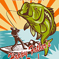 Fly Fisherman On Boat Catching Largemouth Bass by Aloysius Patrimonio