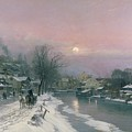 A Canal Scene In Winter  by Anders Anderson Lundby