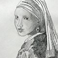 A Girl With A Pearl Earring After Vermeer  by David Keene