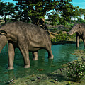 A Pair Of Platybelodon Grazing by Walter Myers