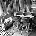 A Parisian Sidewalk Cafe In Black And White by Jennifer Holcombe