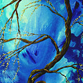 Abstract Art Asian Blossoms Original Landscape Painting Blue Veil By Madart by Megan Duncanson