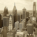 Aerial View Philadelphia Skyline Wth City Hall by Jack Paolini