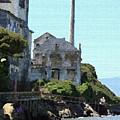 Alcatraz Island - Palette Knife by Lou Ford