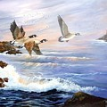 Aleutian Geese With Lighthouse by Lynne Parker