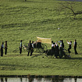 Amish Buggies Anchor A Volleyball Net by Ira Block