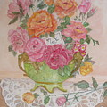 Antique Bowl With Roses by Patti Lennox
