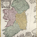 Antique Map Of Ireland Showing The Provinces by Johann Baptist Homann