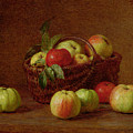 Apples In A Basket And On A Table by Ignace Henri Jean Fantin-Latour