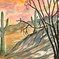 Arizona Evening Southwestern Landscape Painting Poster Print  by Derek Mccrea