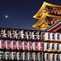 Asakusa Kannon Temple Pagoda And Lanterns At Night by Christine Till