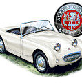 Austin Healey Bug Eye White by David Kyte