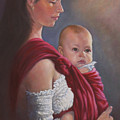 Baby In Rebozo by Harvie Brown