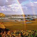 Bandon Beach Rainbow Sunrise by Ed  Riche