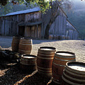 Barn And Wine Barrels by Kathy Yates