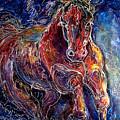 Batik Equine Abstract  Powerful By M Baldwin by Marcia Baldwin