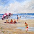 Beach With Umbrella by Perrys Fine Art