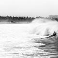 Big Surf At Santa Monica by John Rizzuto