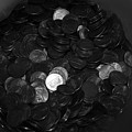 Black And White Pennies by Rob Hans