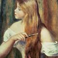 Blonde Girl Combing Her Hair by Pierre Auguste Renoir
