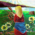 Blonde Indian Weaves Her Basket By A Lake by Mindy Newman