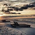 Blue And Orange Sunrise On The Beach by Michael Thomas