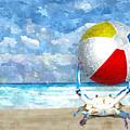 Blue Crab With Beach Ball by Kim Hawkins Eastern Sierra Gallery