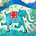 Blue Elephant Facing Right by Sushila Burgess