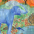 Blue Elephant Squirting Water by Sushila Burgess