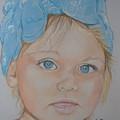 Blue Eyed Baby In Bandana by Sandra Valentini