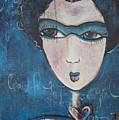 Blue Geisha Love Detail by Laurie Maves ART