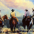 Board Meeting  Cowboy Painting by Kim Corpany
