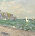 Boats Below The Cliffs At Pourville by Claude Monet