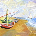 Boats On The Beach At Saintes-maries After Van Gogh by Rodney Campbell