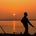 Boatsman On The Ganges by Stefan Nielsen