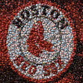 Boston Red Sox Bottle Cap Mosaic by Paul Van Scott