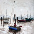 Boy In Blue Sailboat by Dan Bozich
