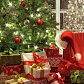Brightly Lit Christmas Tree With Lots Of Gifts by Sandra Cunningham