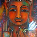 Buddha With A White Lotus In Earthy Tones by Prerna Poojara