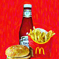 Burger Fries And Ketchup by Wingsdomain Art and Photography