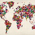 Butterflies Map Of The World by Michael Tompsett