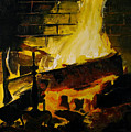 Cabin Fireplace by Doug Strickland